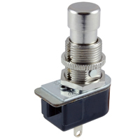 SPST Round Pushbutton Switch On-Off Lug 125V 6A NTE