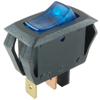 SPST 12VDC Blue Lighted Rocker Switch Incan Off-None-On 10A NTE