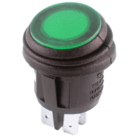 DPST 12VDC Green LED Round Rocker On-None-Off 16A NTE