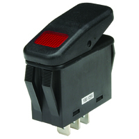 SPST 125VAC Red Neon Lighted Rocker Switch On-None-Off 20A NTE