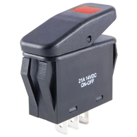 SPST 12VDC Red LED Lighted Rocker Switch On-None-Off 21A NTE