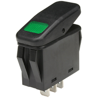 SPST 125VAC Green Neon Lighted Rocker Switch On-None-Off 20A NTE