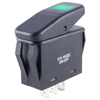 SPST 12VDC Green LED Lighted Rocker Switch On-None-Off 21A NTE
