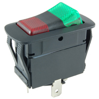 SPDT 125VAC Red/Green Neon Lighted Rocker On-None-On 12A NTE