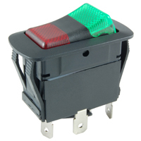 SPDT 12VDC Red/Green LED Lighted Rocker On-None-On 21A NTE
