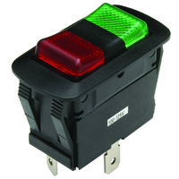 SPDT 125VAC Red/Green Neon Lighted Rocker On-Off-On 16A NTE