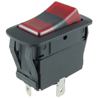 SPDT 125VAC Red/Red Neon Lighted Rocker On-Off-On 12A NTE