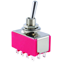 4PDT Mini Bat Handle Toggle Switch On-Off-On 5A 125V NTE