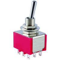 3PDT Mini Bat Handle Toggle Switch On-Off-On 5A 125V NTE