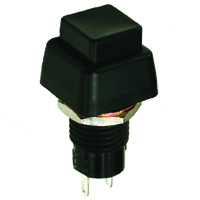 Black Square Pushbutton SPST Off-(On) 125V 3A