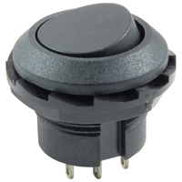 DPDT Round Rocker Switch w/Mounting Nut On-None-On 125V 10A NTE
