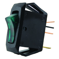 SPST 125VAC Green Lighted Rocker Switch Neon Off-None-On 16A NTE
