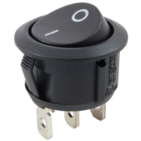 SPDT Snap-In Round Rocker Switch On-None-(On) 125V 16A NTE