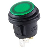 SPST 12VDC Green LED Round Rocker On-None-Off 16A NTE
