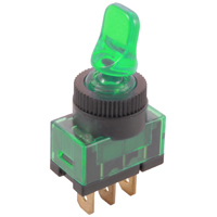 SPST 12VDC Green Lighted Duckbill Toggle Switch On-Off 20A NTE