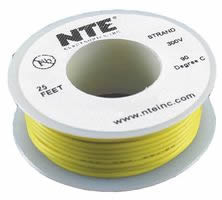 25Ft Yellow 22Awg Stranded Copper Hookup Wire 300 Volt
