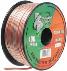 100' 16Awg Clear Speaker Wire (2-Conductor)
