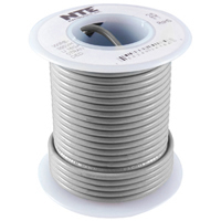 25Ft Gray 16Awg Stranded Copper Hookup Wire 300 Volt
