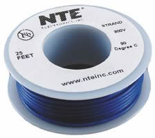 25Ft Blue 18Awg Solid Copper Hookup Wire 300 Volt