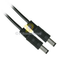 "Size M 5.5/2.1mm Coaxial DC Power Cable 6"" Male to Male 24Awg"